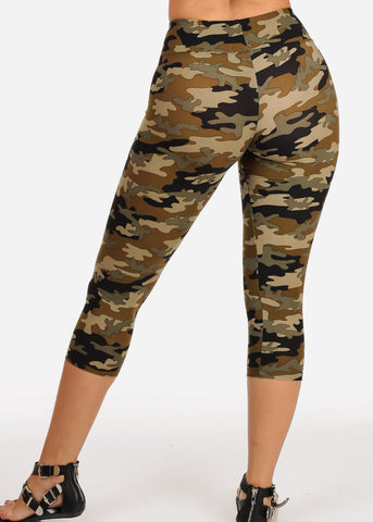 Women's Junior Ladies Cute Comfortable Trendy Pull On High Rise Camouflage Print Capri Leggings