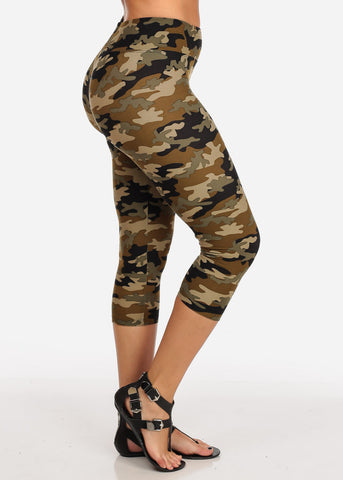 Image of Women's Junior Ladies Cute Comfortable Trendy Pull On High Rise Camouflage Print Capri Leggings