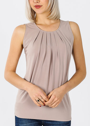Sleeveless Ash Mocha Pleat Top
