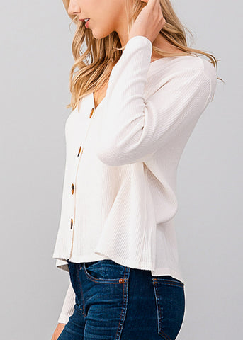 Long Sleeve Loose Fit White Crop Top