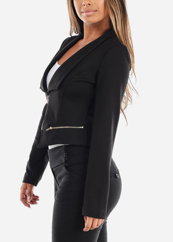 Stylish Long Sleeve Zip Up Office Business Wear Black Moto Jacket