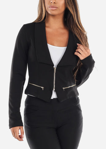 Image of Stylish Long Sleeve Zip Up Office Business Wear Black Moto Jacket