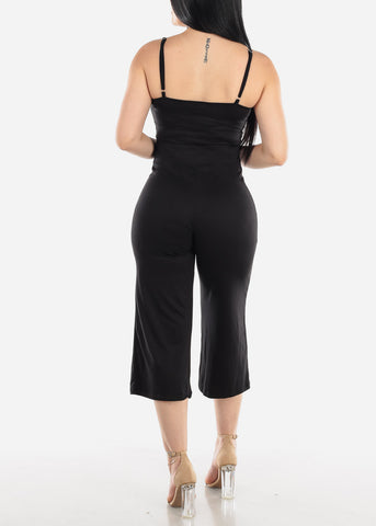 Image of Wide Legged Black Cropped Jumpsuit