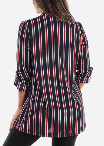 Image of Stylish Navy Striped Blazer