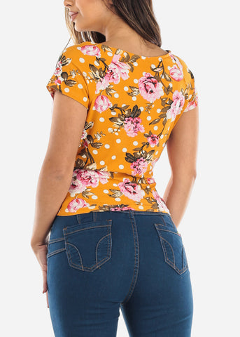 Image of Wrap Front Floral Mustard Top