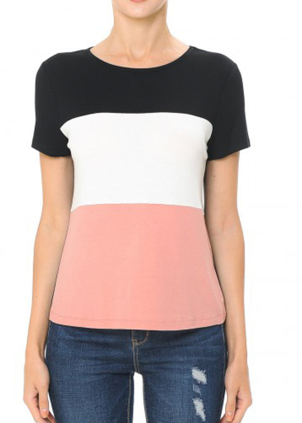 Short Sleeve Black Colorblock Top