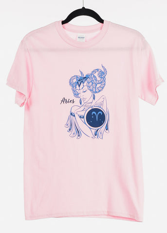 "Image of Light Pink Graphic T-Shirt ""Aries"""