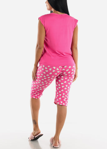 Heart Printed Pink Top & Capris (2 PCE PJ SET)