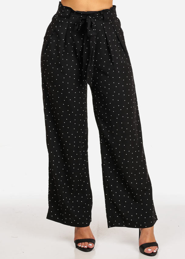 Polka Dot Elastic Drawstring Pants