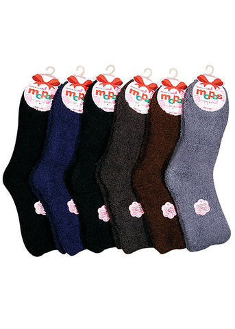 Assorted Dark Fuzzy Socks (12 PACK)