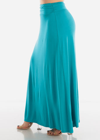 Image of High Rise Teal Maxi Skirt