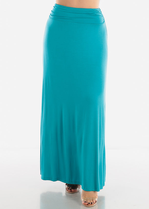 High Rise Teal Maxi Skirt