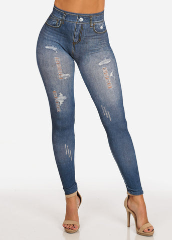 Stylish Super Stretchy High Rise Med Wash Denim Style Distressed Leggings