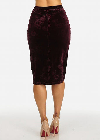 Image of Wine Floral Velvet Midi Skirt