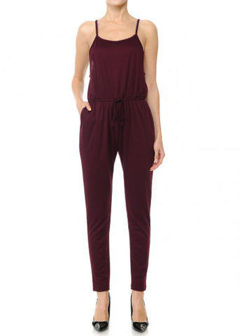 Image of Burgundy Jersey Drawstring Jumpsuit