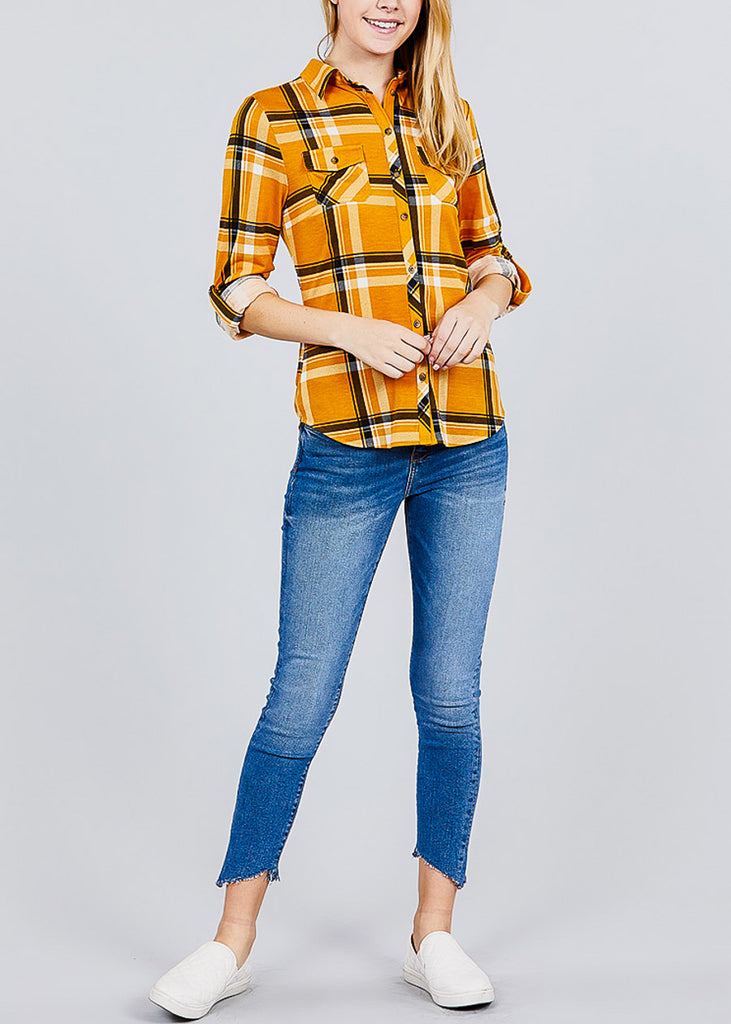 Plaid Three Quarter Sleeve Mustard Button Up Shirt