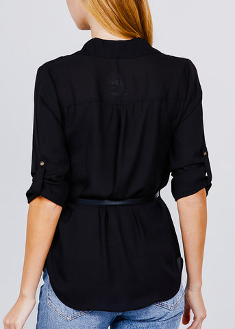 Image of Half Button Up Lightweight Black Shirt