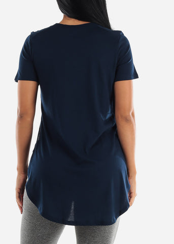Image of Side Slits Navy Tunic Top