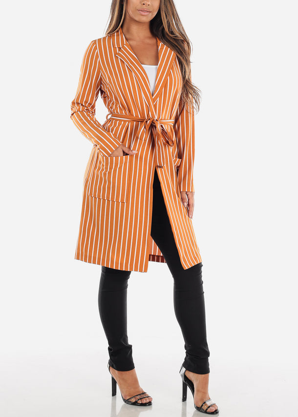 Stylish Long Sleeve Open Front Mustard Stripe Long Blazer W Tie Belt