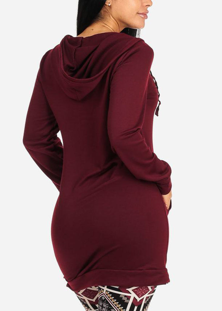 Hooded Burgundy Tunic Sweater