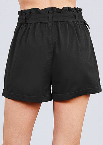 Image of Cotton Paperbag Black Shorts