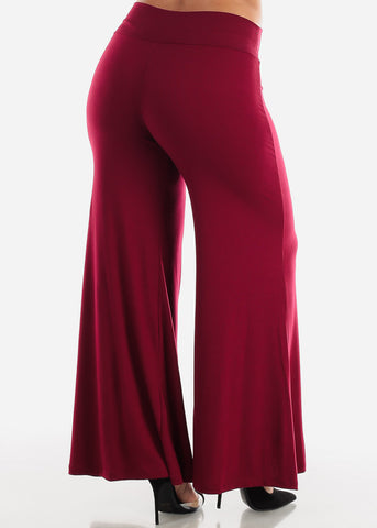 Image of High Burgundy Palazzo Pants