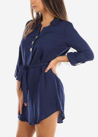 Image of Navy Half Button Belted Shirt Dress