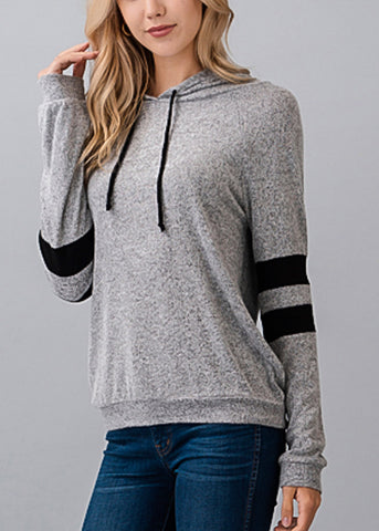 Image of Stripe Sleeves Grey Hoodie