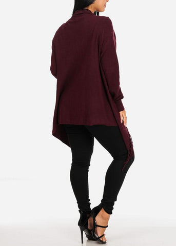 Image of Wrap Front  Burgundy Cardigan