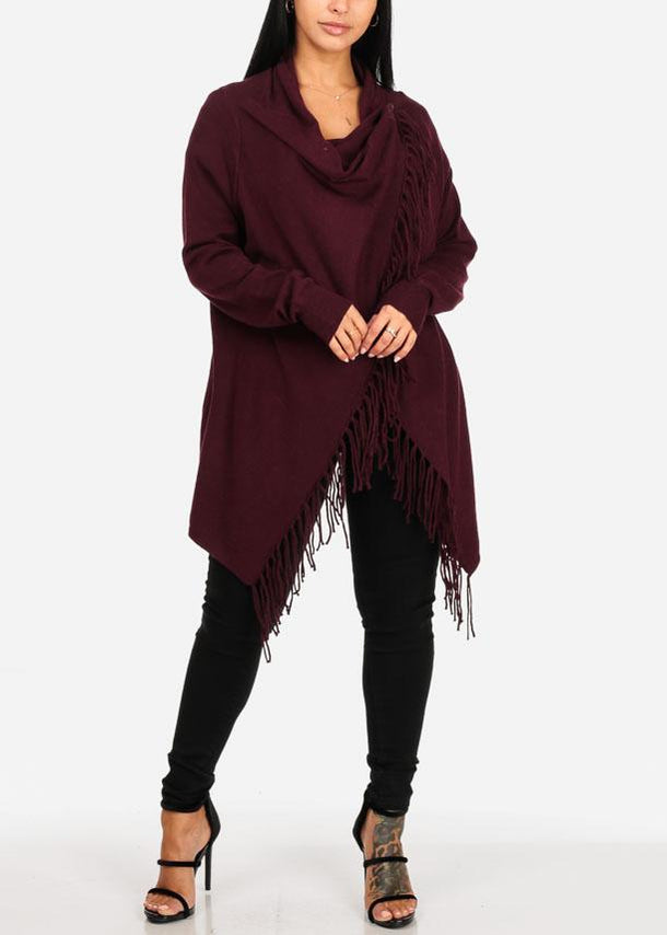 Wrap Front  Burgundy Cardigan