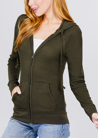 Image of Long Sleeve Olive Thermal Hoodie