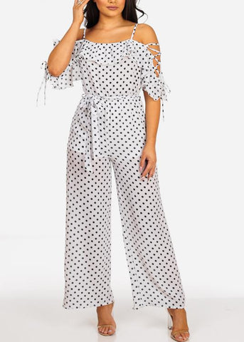 Image of Sexy Lightweight White Polka Dot Jumpsuit