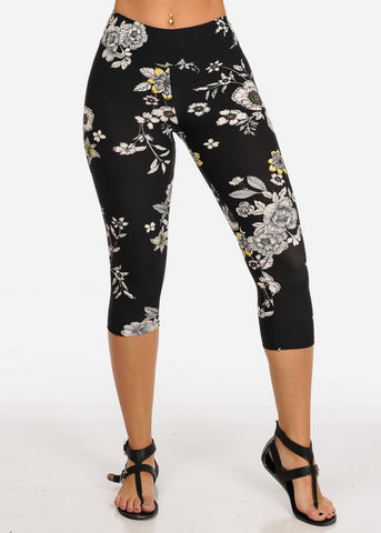 Women's Junior Ladies Cute Comfortable Trendy Pull On High Rise Floral Print Black Capri Leggings