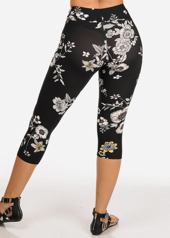 Image of Women's Junior Ladies Cute Comfortable Trendy Pull On High Rise Floral Print Black Capri Leggings