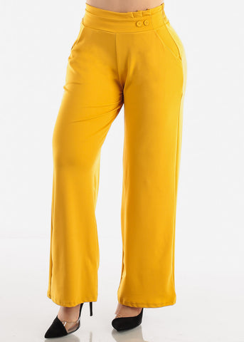 Image of Mustard High Waist Dressy Pants