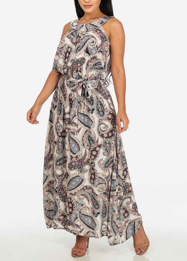 Sleeveless Paisley Printed Beige Dress