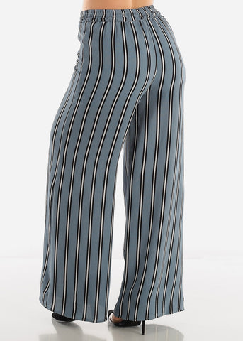 Image of Blue Grey Stripe Palazzo Pants