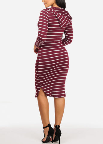Image of Stripe Bodycon Burgundy Dress