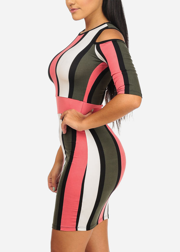 Pink Stripe Dress W Back Keyhole