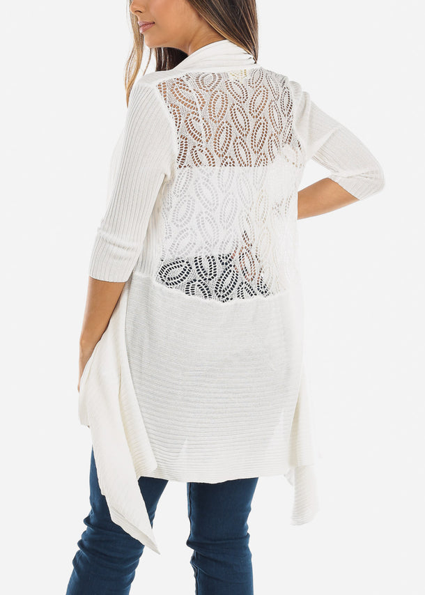 Crochet Back Asymmetric Elegant White Cardigan