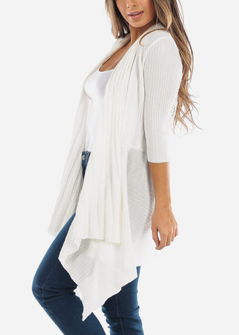 Image of Crochet Back Asymmetric White Cardigan