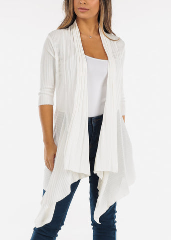 Crochet Back Asymmetric White Cardigan