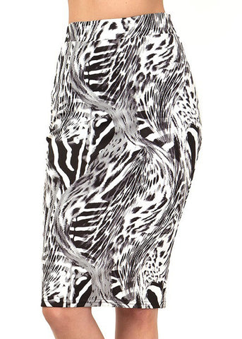 Image of Black & White Animal Print Pencil Skirt