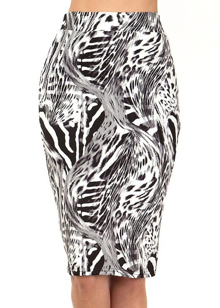 Black & White Animal Print Pencil Skirt