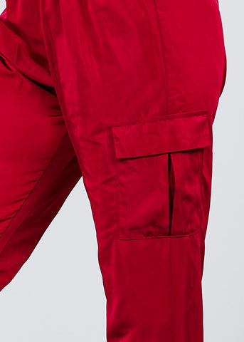 Image of Windbreaker Burgundy Cargo Jogger Pants