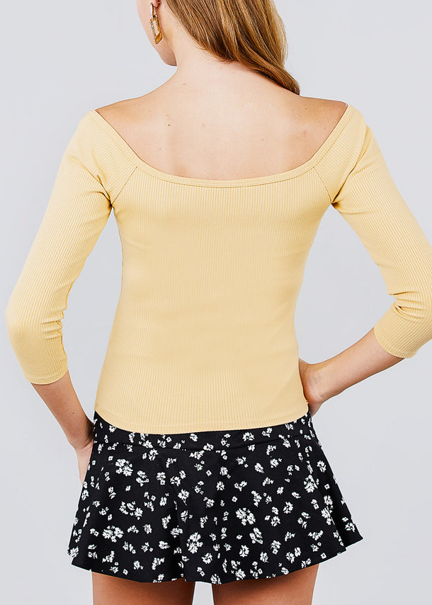 Half Button Cream Yellow Ribbed Top