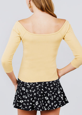 Image of Half Button Cream Yellow Ribbed Top