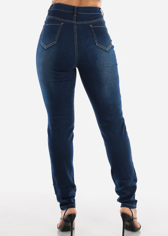 Image of High Rise Dark Wash Skinny Jeans