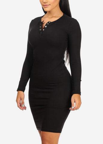 Image of Black Bodycon Stretchy Dress