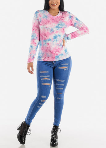 Image of Pink Slip On Tie Dye Top